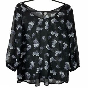 Divided by H&M Sheer Black & White Floral Blouse 8